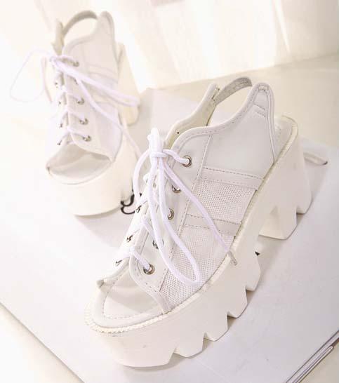 white platform lace up shoes sw20144