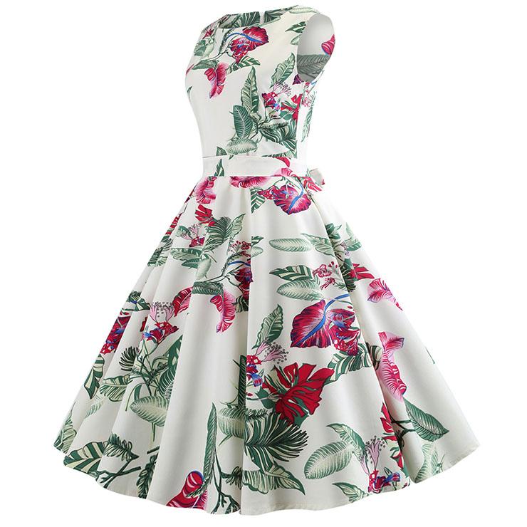 Vintage Dresses for Women, Cocktail Party Dress, Vintage Sleeveless Tank Dresses, A-line Cocktail Party Swing Dresses, Floral Print Vintage Dress, Round Neck Vintage Day Dress, #N18583