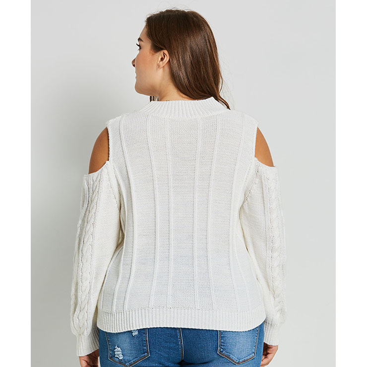 c04ea7d910f Women s White Round Neck Cold Shoulder Long Sleeve Pullover Plus Size  Sweater N15735