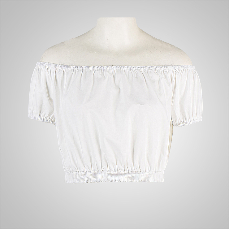 white sleeve shoulder crop top and high