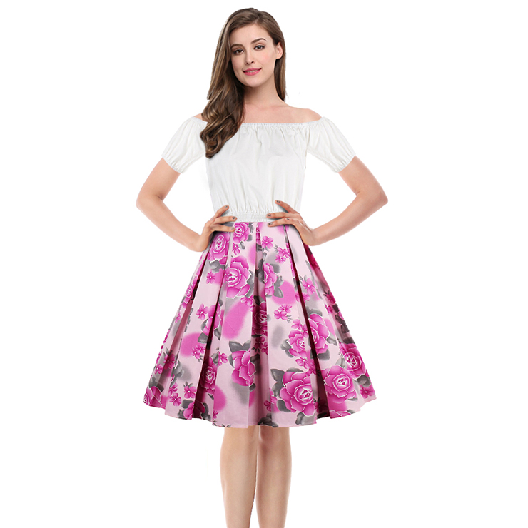 Sexy White Short Sleeve Off Shoulder Crop Top and  High Waisted Skirt Set N13042