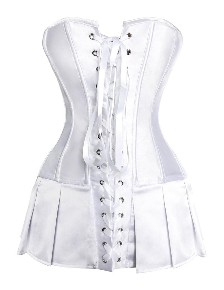 White silk satin body shaper, satin basque corseted skirt, White Satin Skirted Corset, #N5689