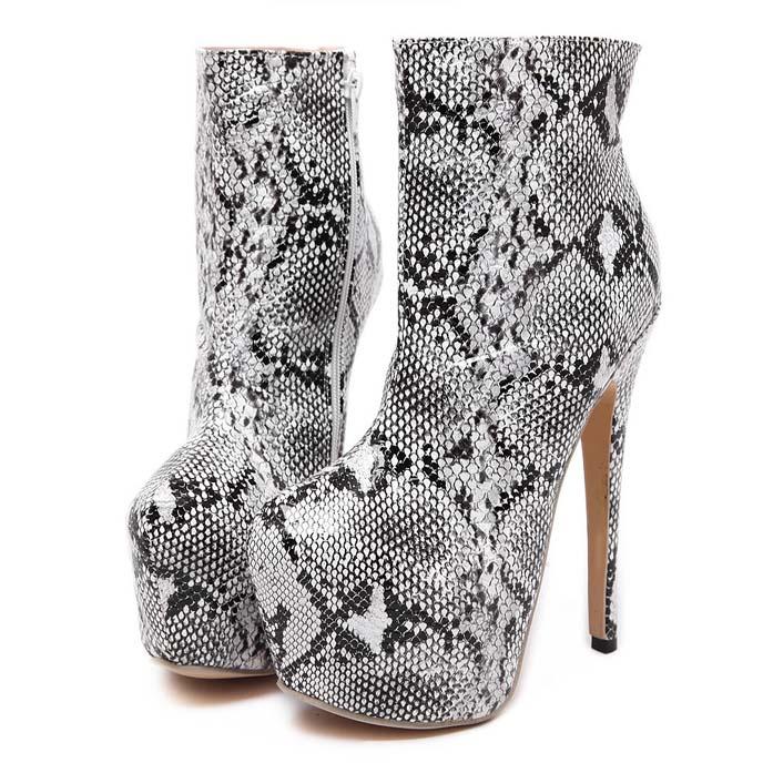 55fe1b11807 Sexy White Snake Skin Pattern High Platform High-heeled Boots SWB20390