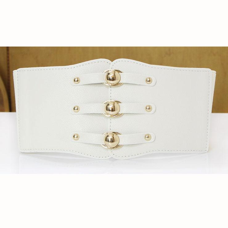 Fashion White Leather Stretch Waistband High Waisted Cincher Corset Belt N14796