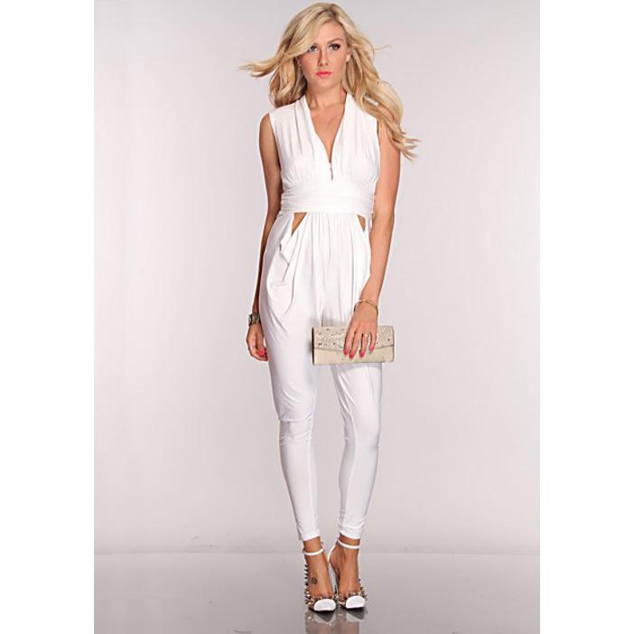 White V Neck Sexy Jumpsuit N5903