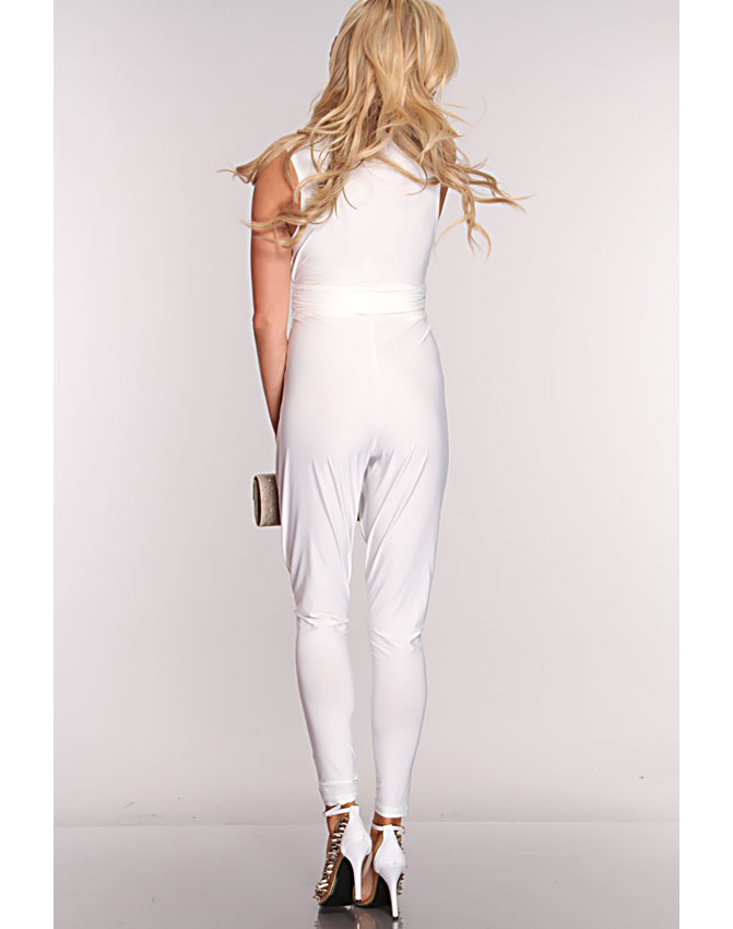 White V Neck Sexy Jumpsuit, Sexy Jumpsuit, White Jumper, #N5903