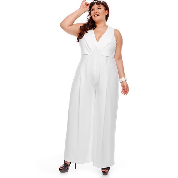 Women's White V Neck Sleeveess Wide Leg Plus Size Jumpsuit ...