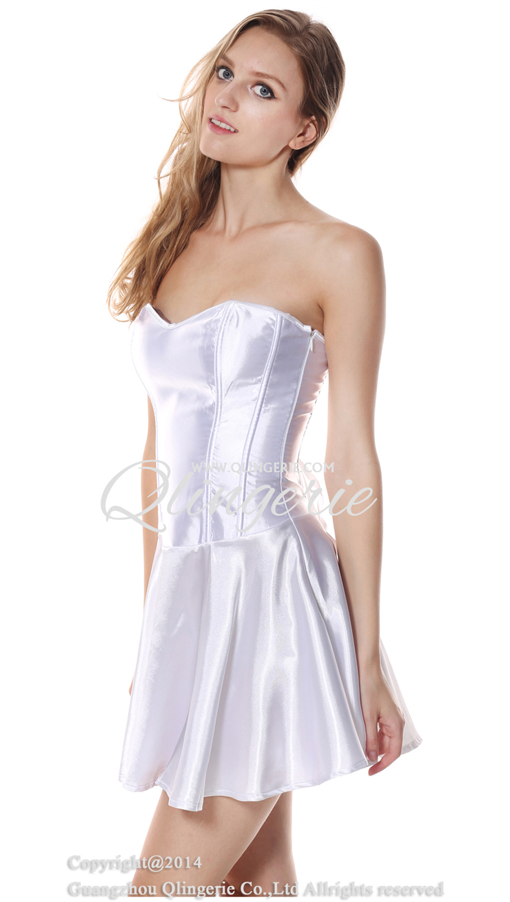 Smooth Satin Corset Dress, Pleated Long Corset Partywear, White Wedding Corset Dress, Fit and Flare Corset Dress, Strapless Corset Dress, #N9172