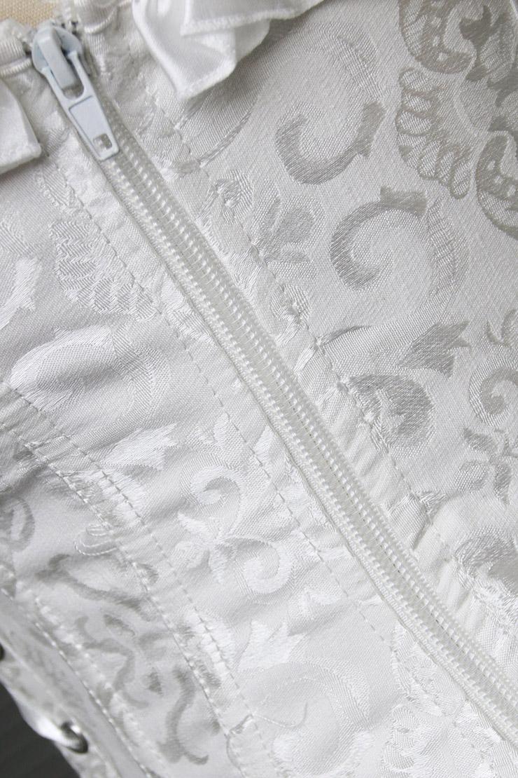embroidered Corset, White Tie-Strap Corsets, ruffle tie straps Corsets, #M4270