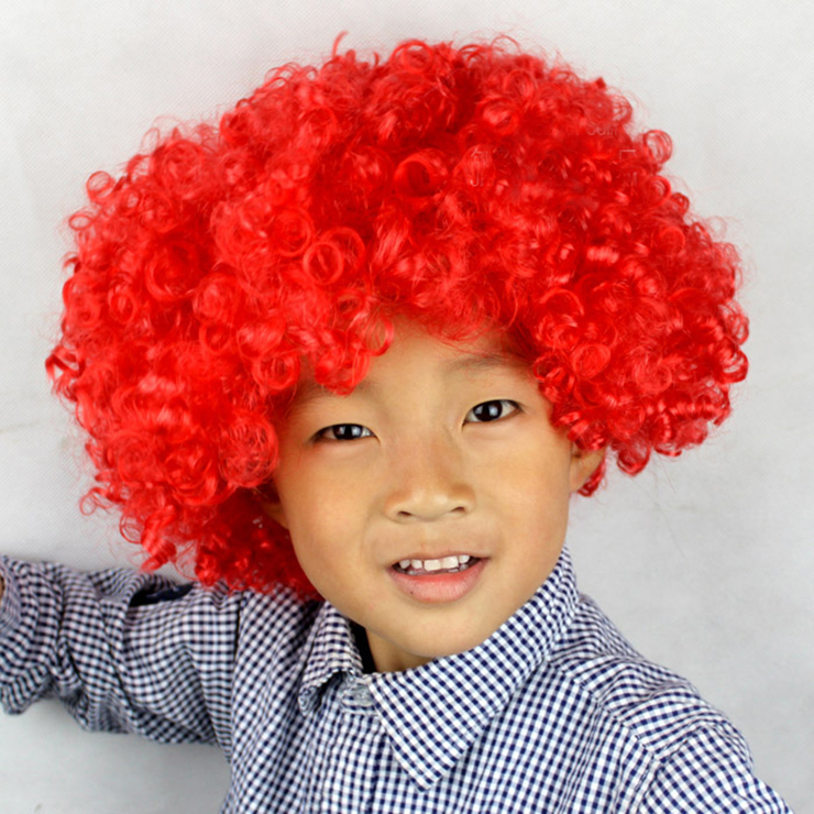 Unisex Red Wild-curl up Curly Clown Quirky Wig for Adult and Child MS16069