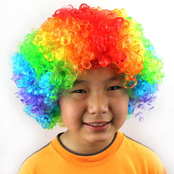 Unisex Multi-color Wild-curl up Funny Clown Quirky Wig for Adult and Child MS16078