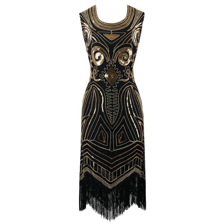 Women's 1920s Art Deco Sequined Embellishment Fringed Flapper Dress N14904