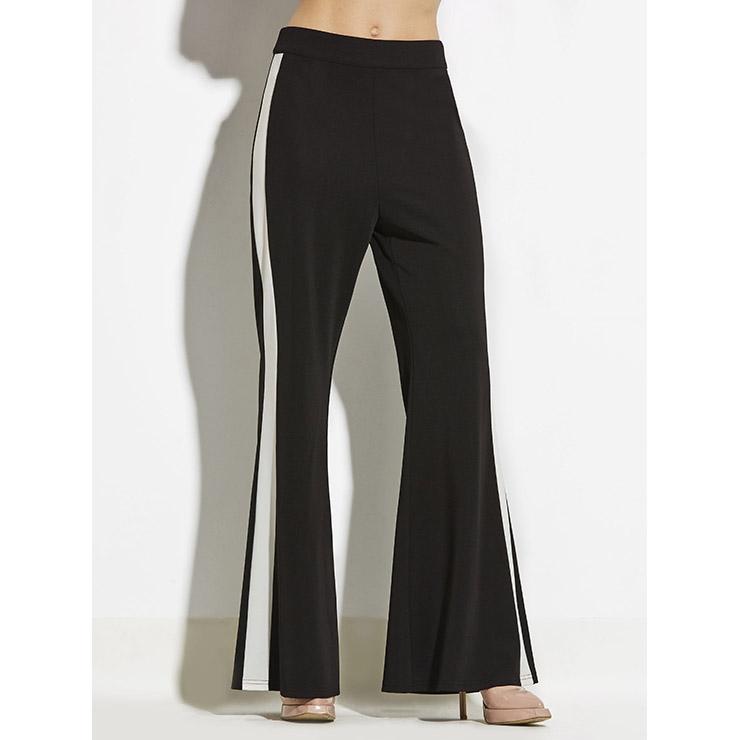 Women's Black Stripe Slim Full Length Patchwork Bellbottoms N14917