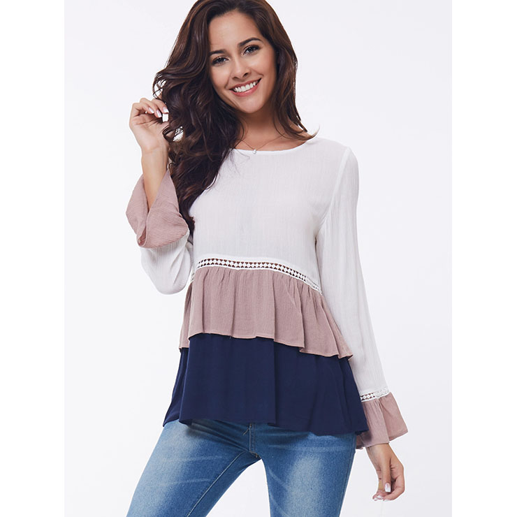 Women's Casual Flared Long Sleeve Rond Neck Ruffled Hem Tops N14389