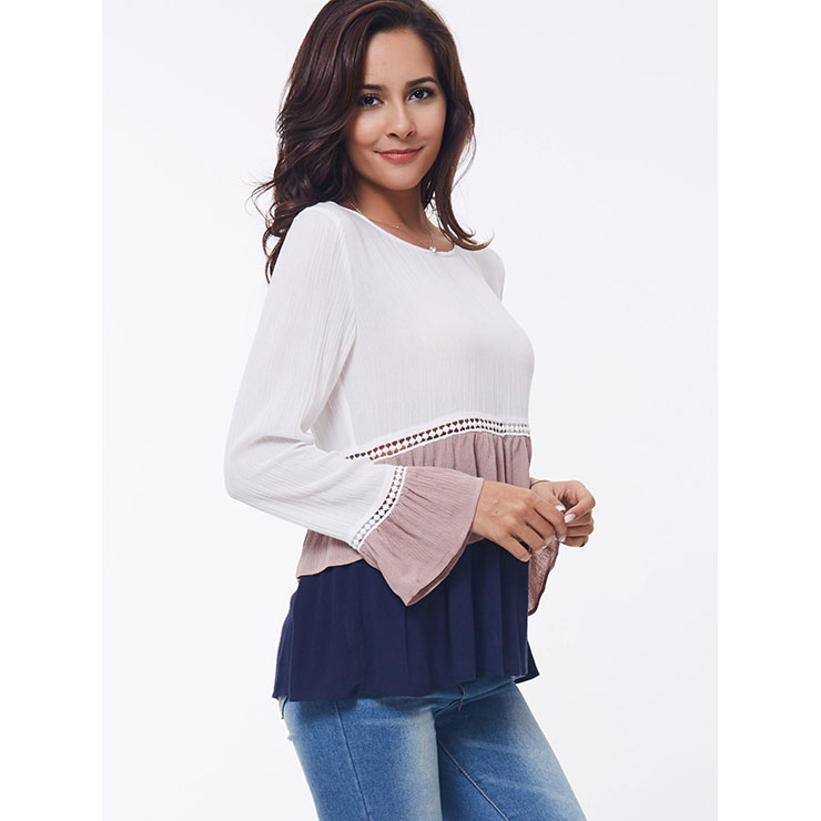 The Tops, Tops for Women, White Tops for Women, Long Sleeve Tops, Flared Sleeve Tops, Cheap Women
