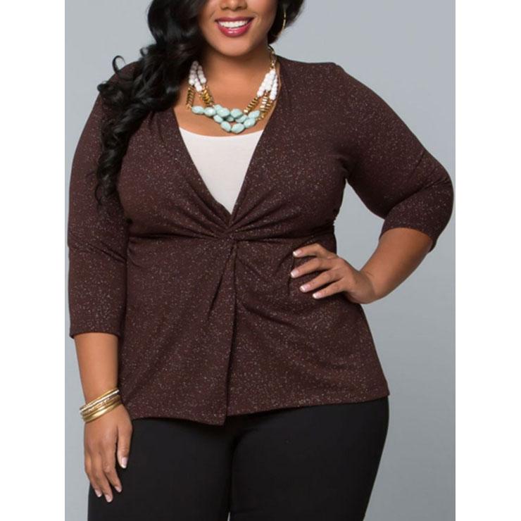 Women S Casual Plus Size 3 4 Length Sleeve Brown Tops N14374