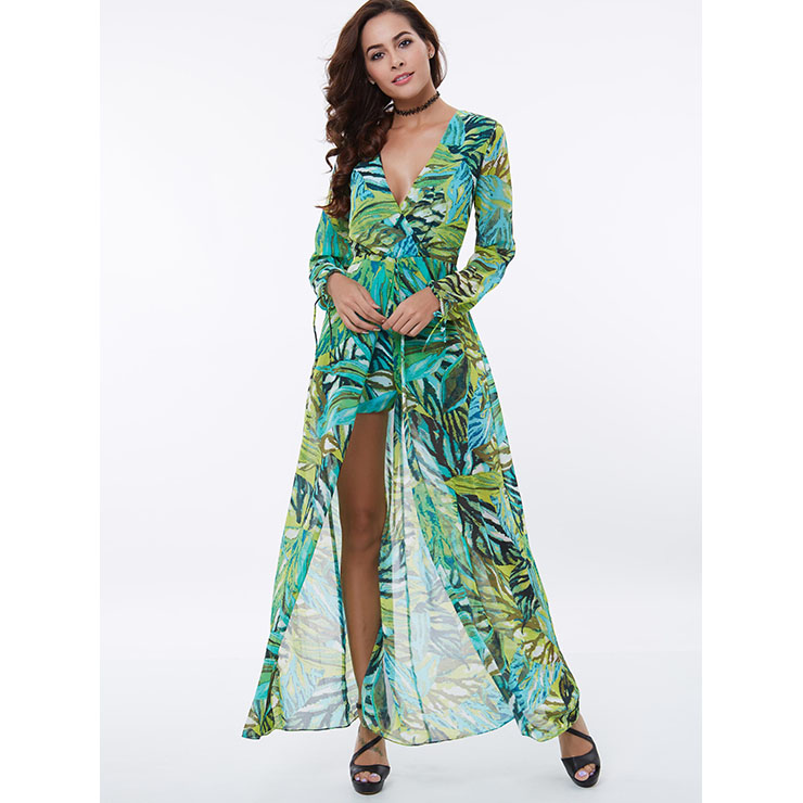 Hot Sale Women's Charming Floral Print  Long Sleeve Jumpsuits and Rompers N14388