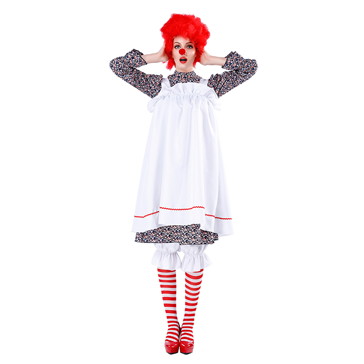 5pcs Women's Crazy Circus Clown Floral Dress With Apron Adult Cosplay Costume N19478