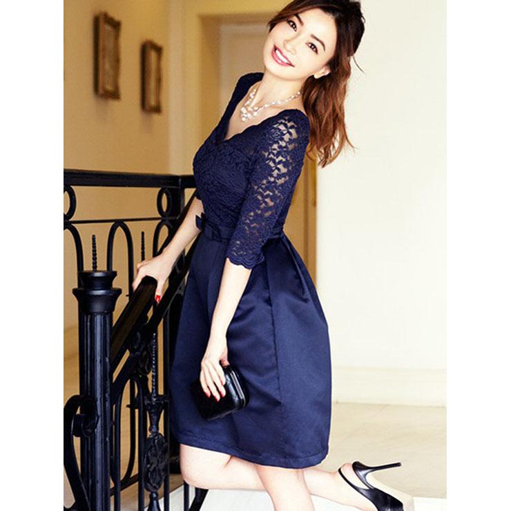 Women S Vintage 3 4 Length Sleeve V Neckline Swing Midi Dresses N14356