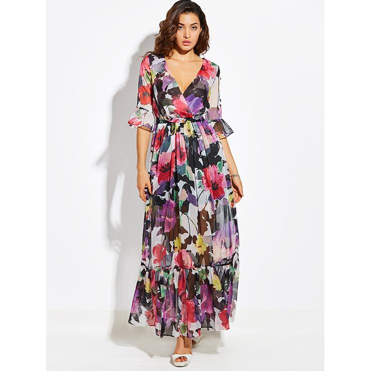 4e71e9df9f977 Women's Floral Wrap V Neck Three-Quarter Sleeve Bohemian Maxi Dress ...