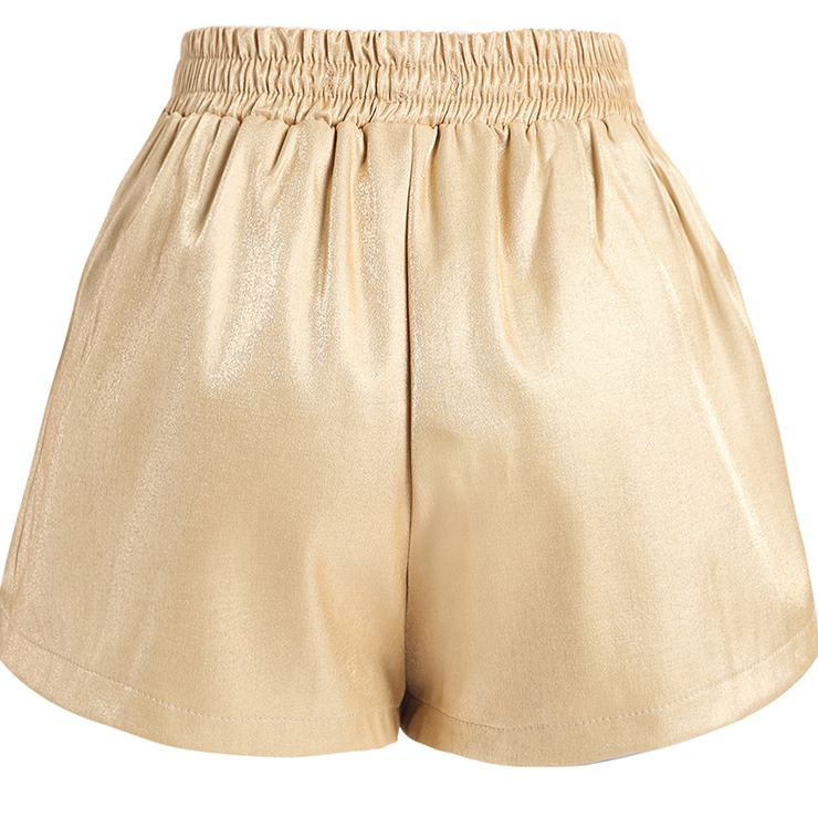 Gold Short Pants, Pants for Women, Slim Fit Pants, Mid Waist Loose Elastic Pants, Cheap Pants for Women,  #N14360