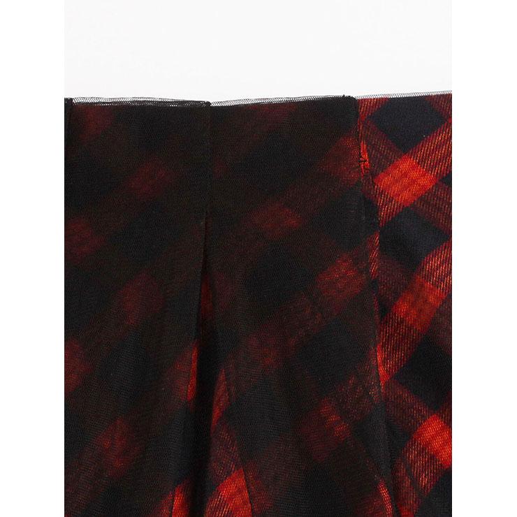 Sexy Skirt for Women, Irregular Skirt,  Asymmetric Knee Length Skirt, Red Sexy Skirts, Hi-Waist Irregular Skirt, Women Skirts, #N14377