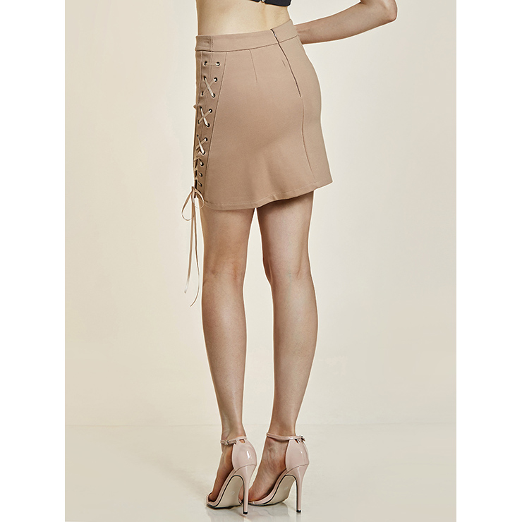 Sexy Skirt for Women, Package Hip Skirt, Sexy Mini Skirt, Sexy High Waist Package Hip Skirts, Beige Hi-Waist Skirt, Women Side Lace Up Skirts, #N14345