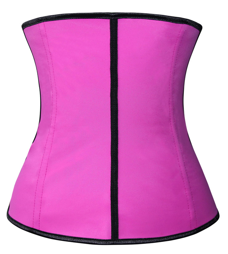 Latex Underbust Corset, Elastic Body Shaper Bustier, High Quality Hot-Pink Steel Bone Underbust Corset, Plus Size Corset, #N10241