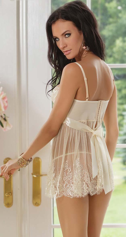 Ivory Elegance Babydoll Lingerie, Cheap Women