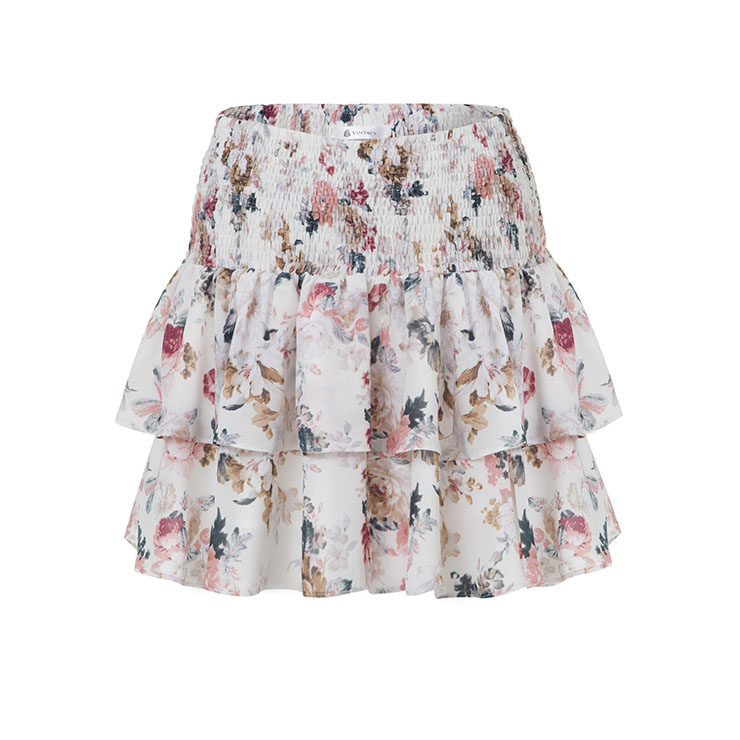 s pretty floral print high waisted pleated swing
