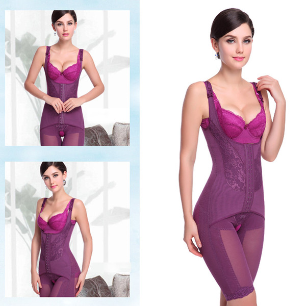 Sexy Purple Lace Body Shaper, Cheap Mid Thigh Full Shapewear, Hot Sale Hook and Eye Closure Body Shaper, #N10674