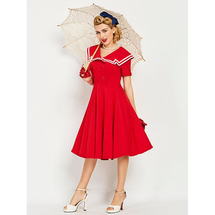 Fashion Womenu0026#39;s Red Crew Neck Short Sleeve Swing Dress N14277