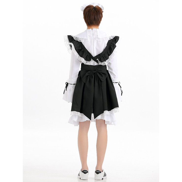 Sexy Maid Costume, Black and White French Maid Costume, Cheap Halloween Costume, Proper French Maid Costume, #N12004