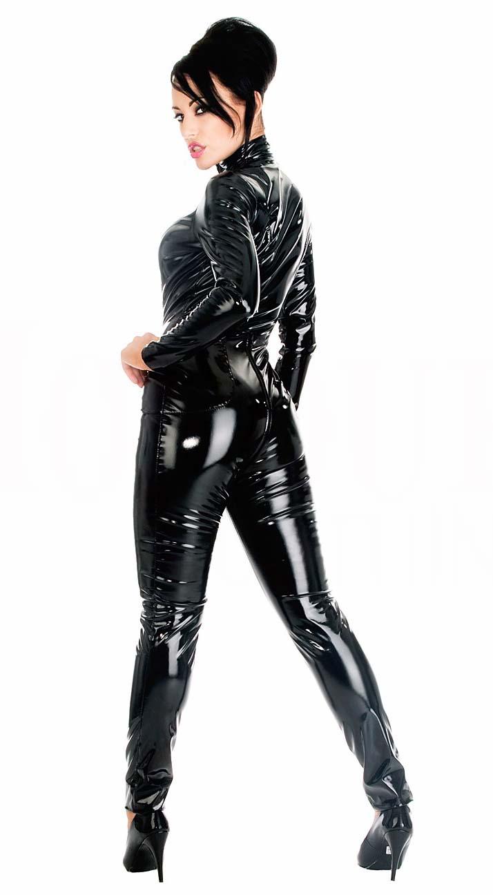 Black Women Vinyl PVC Wetlook Leather CATSUIT CLUBWEAR Bodysuit Motor Jumpsuit.
