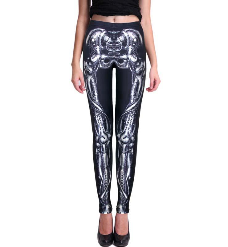 2016 Women American Football Pattern 3d Leggings Stretch: Crazy Sexy Black Skeleton Print Leggings L11008