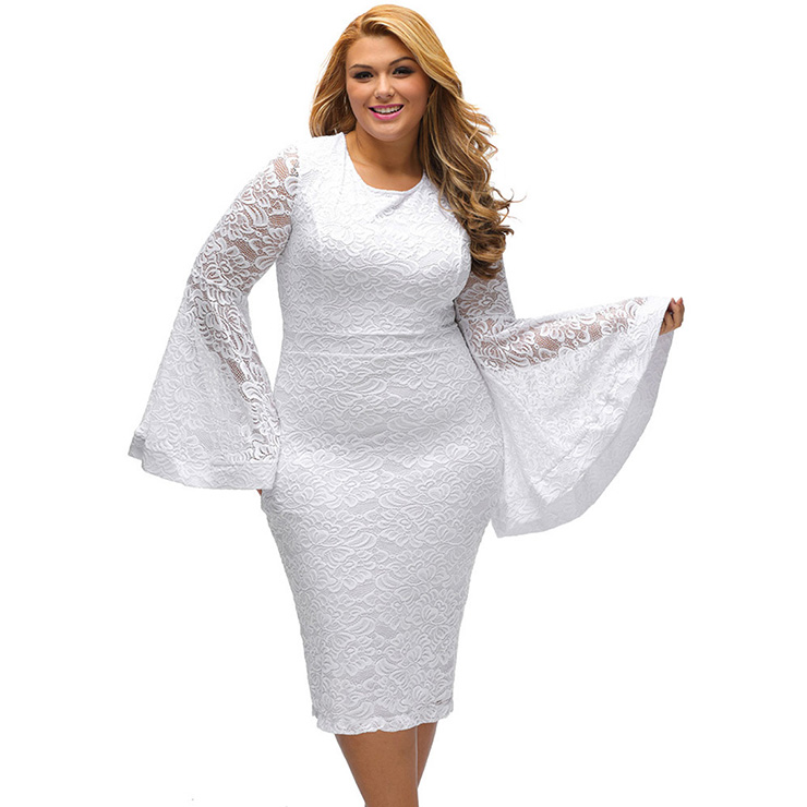 Womens Sexy Flared Long Sleeve Floral Lace Plus Size Bodycon