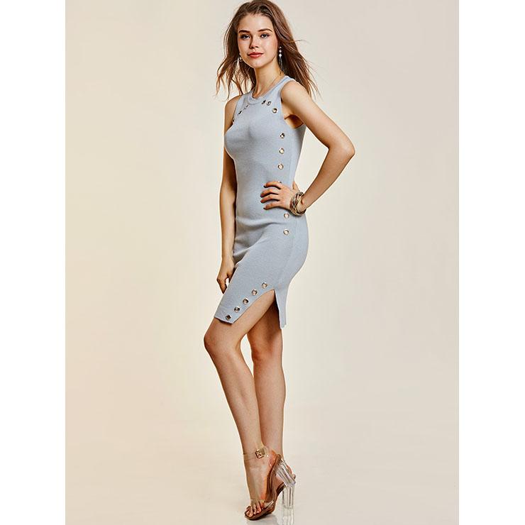 Bodycon Dresses, Midi Dresses, Wide Strap Dresses, Round Neck Dresses, Sleeveless Dresses, Sexy Dresses, Summer Dresses for women, #N14346