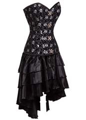 women's sexy skull print steel bone overbust corset dress