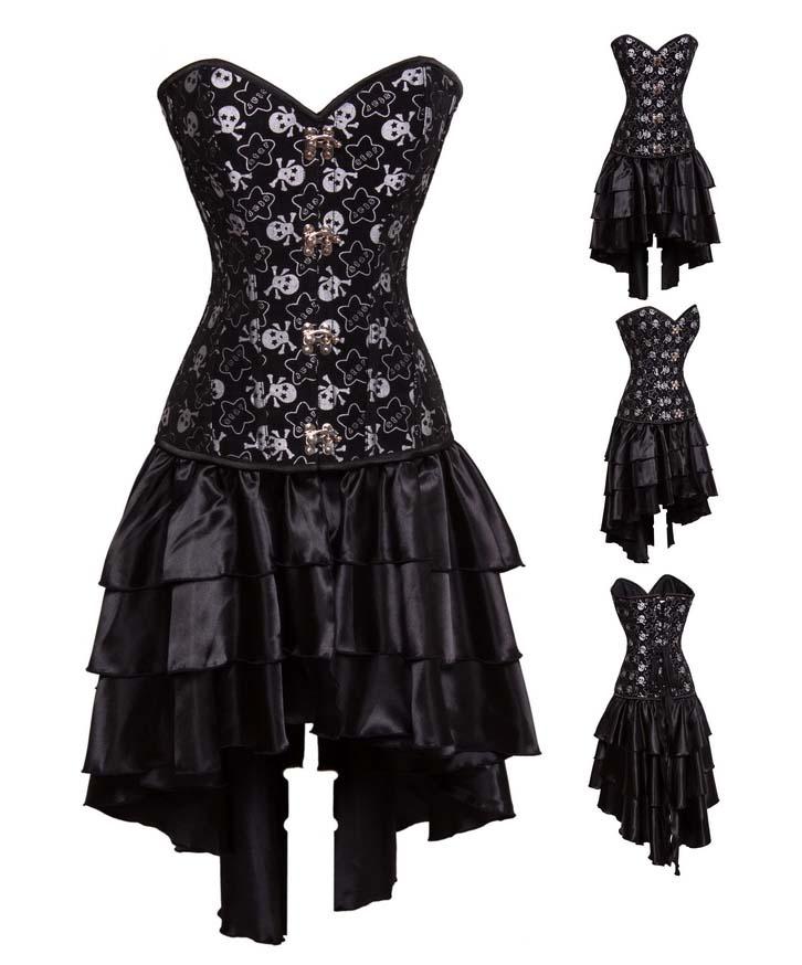 Cheap Halloween Corset Dress, Sexy Black Steel Bone Corset Dress, Women