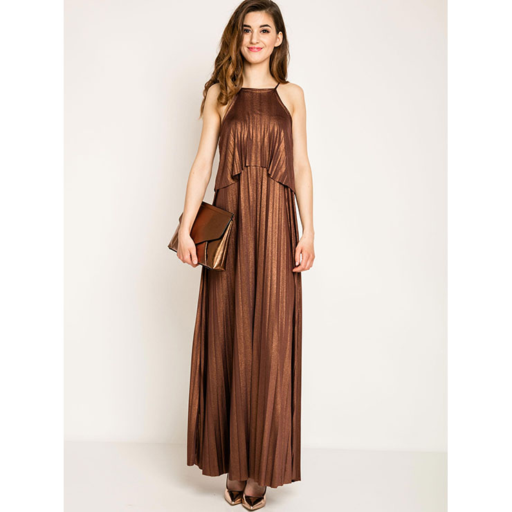 Hot Selling Women's Sexy Spaghetti Strap Sleeveless Maxi Dress N14261