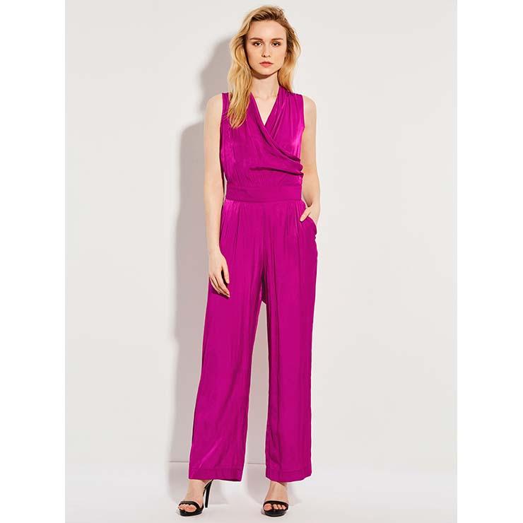 Women's Sleeveless Pleated Pocket Wide LegsPlain Jumpsuit N14358