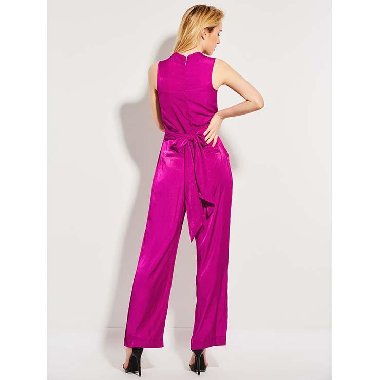 Wide LegJumpsuit, Jumpsuits for Women, V Neckline Jumpsuit, Slim Plain Jumpsuit, Sleeveless Jumpsuit, Fashion Jumpsuit, #N14358