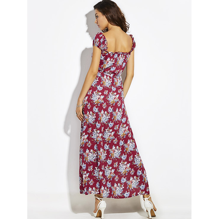 Women S Square Neck Frill Cap Sleeve Floral Print Side Split Maxi