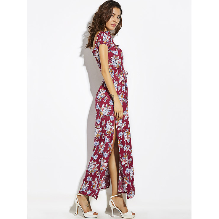 a3b3c00dc00 Women s Square Neck Frill Cap Sleeve Floral Print Side Split Maxi Dress  N14879