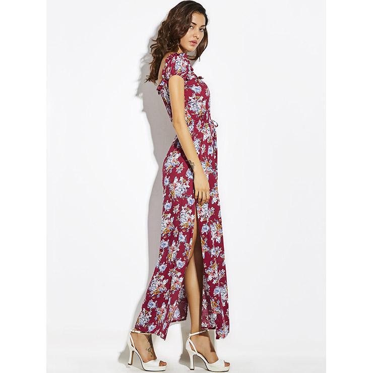 a3b3c00dc00 Women s Square Neck Frill Cap Sleeve Floral Print Side Split Maxi Dress  N14879