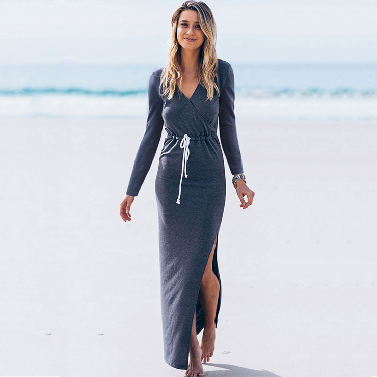 Women's V Neck Long Sleeve Drawstring Waist Side Split Casual Beach Maxi Dress N14551