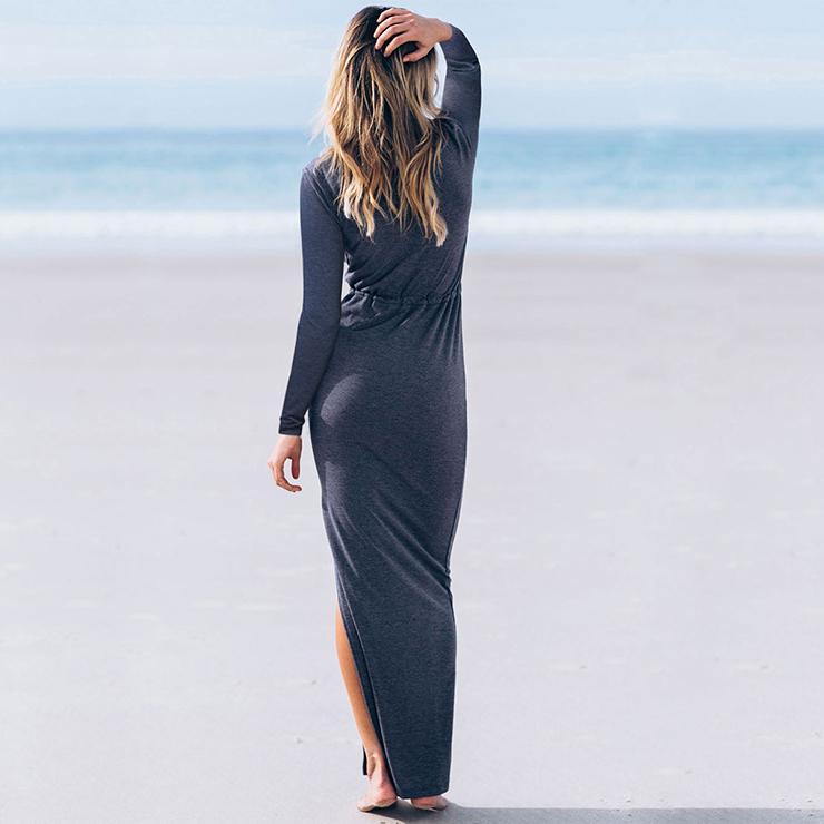 Sexy Casual Dress for Women, Maxi Dresses, Long Sleeve Dress for Women, V Neck Maxi Dress, Casual Beach Dress, Women Summer Daily Dress, #N14551