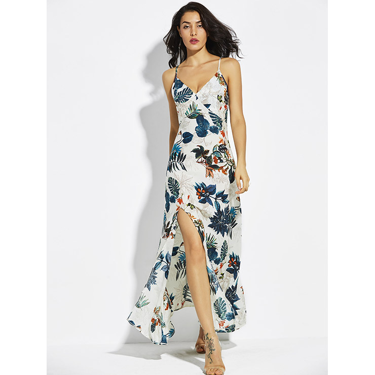927803f8fb Women s Wrap V Neck Sleeveless Floral Print Side Split Maxi Dress N14653