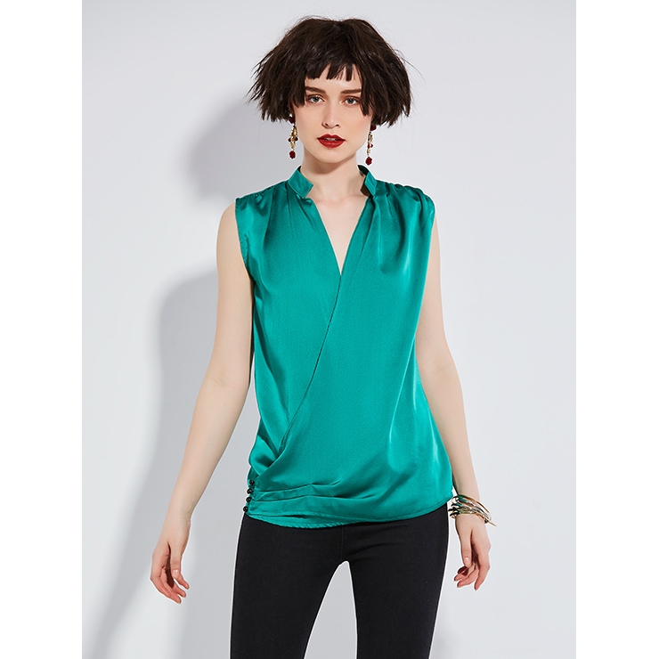 Women's Wrap V Neck Stand Collar Sleeveless Solid Color Blouse N14541