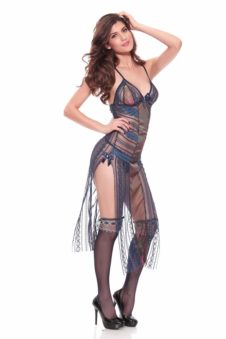 Long Night Gown with Robe, Long Gowns for Women, Royalblue Long Chemise, #N11238